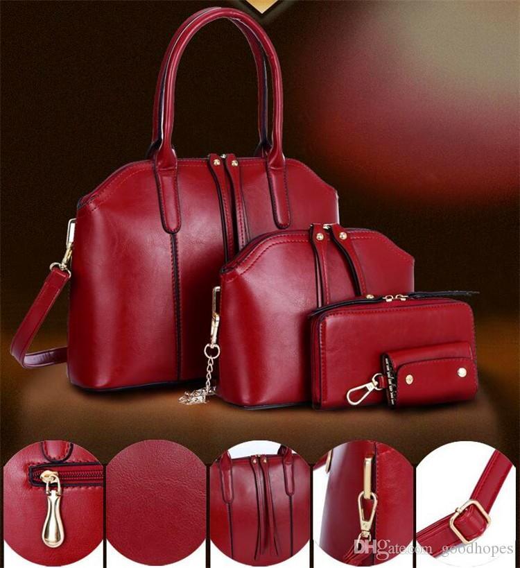 Sets Mode Frauen Handtasche Wachs geölt echtes Leder Schulter Crossbody Composite-Taschen Handtasche Messenger Bag Geldbörse Brieftasche