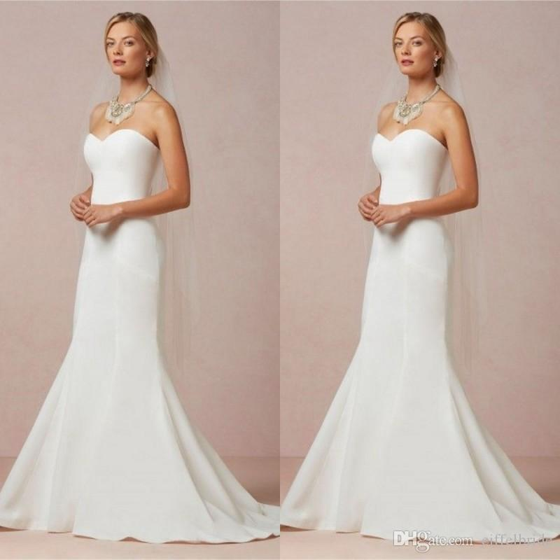 Fast Shipping Simple Cheap Wedding Dresses Mermaid Sweetheart Neck ...
