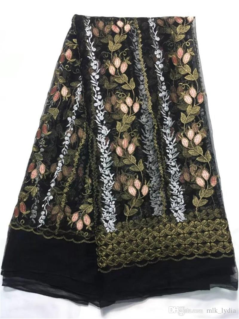Beautifical african tissu Fancy lace design embroidery flower lace french lace net fabric for making dress black color 2018