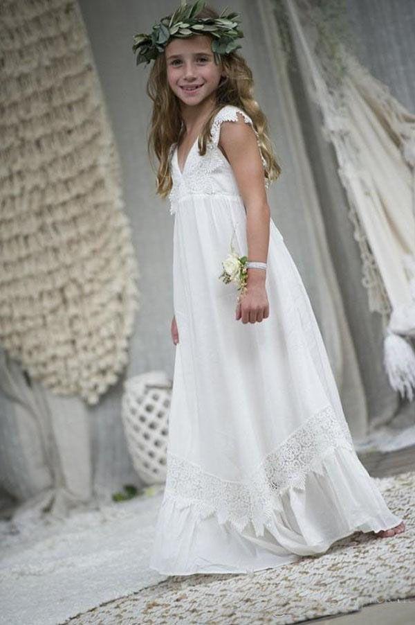 Beach Boho Wedding Guest Abiti ragazze in pizzo Chiffon abiti da cerimonia formale Abiti da comunione Una linea Summer Girl Skirt