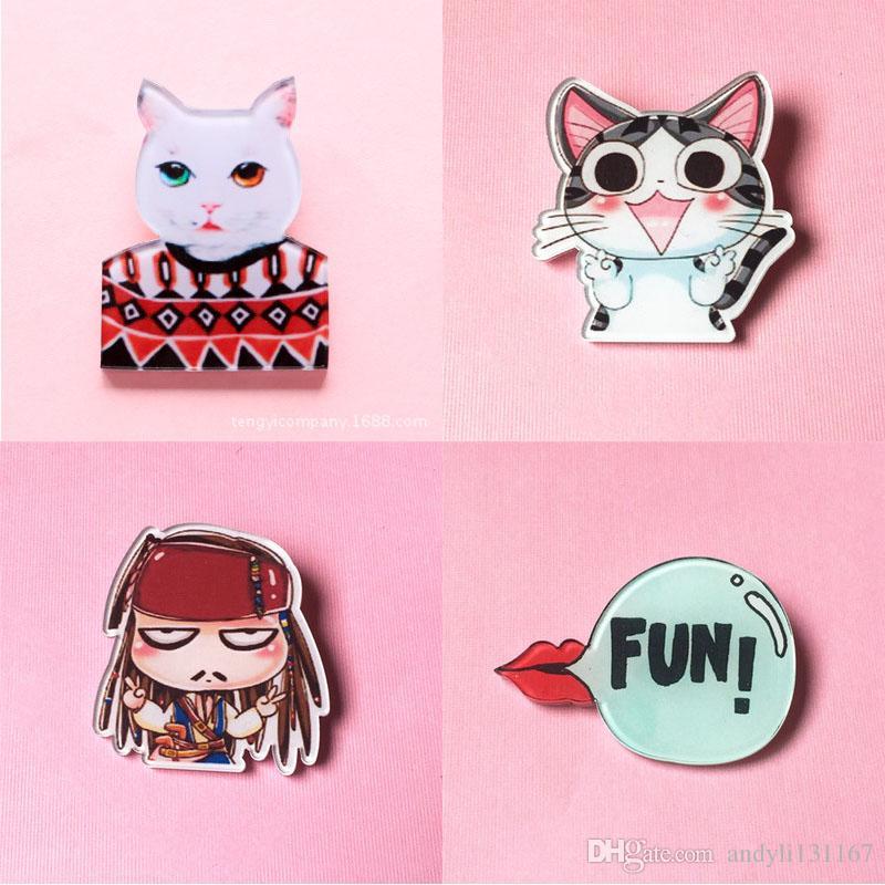 New Shirt Cute Harajuku Acrylic Brooches Badge Cartoon Decoration lapel pins icon cat Figure Simpson Batman Brooch Broche BR0001