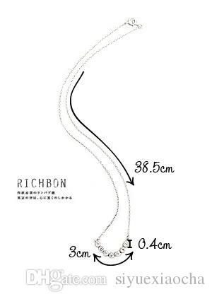 Classic Silver clavicle necklace with a row diamond pendant, with alloy material, very cheap but hign quality,