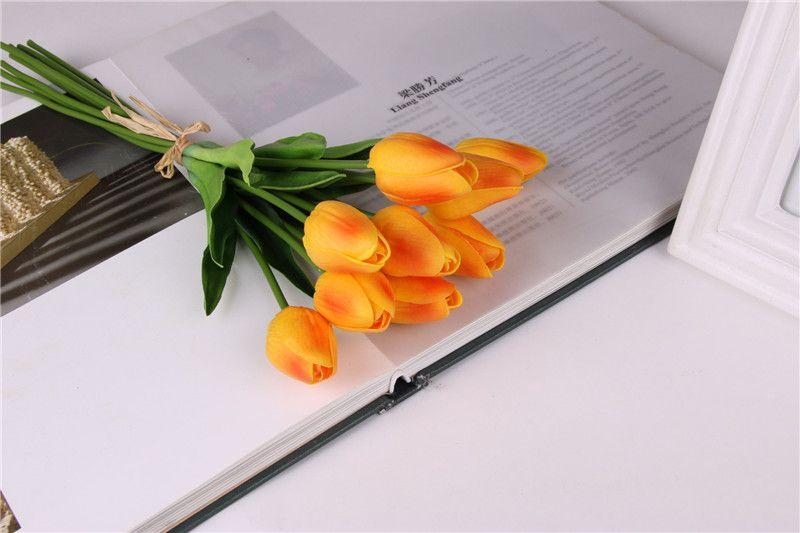 1x Bouquet Élégant Artificielles Tulipes PU Fleurs Real Touch Fleurs Home Party Decor Décoration De Mariage Flores Artificiales