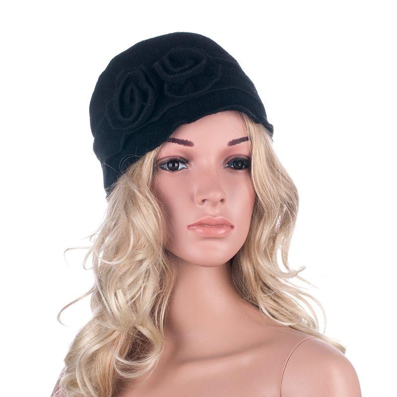 Womens Gatsby 1920s Flapper Girl Winter Warm Wool Cap Beret Beanie Crochet Bucket Floral Hat A285