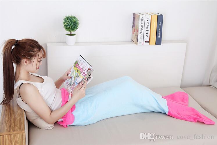 Fanila Mermaid Kuyruk Battaniye Balık Uyku Tulumu Fantezi Battaniye Yatak Sarma Kostüm Çocuklar Için DHL ücretsiz kargo