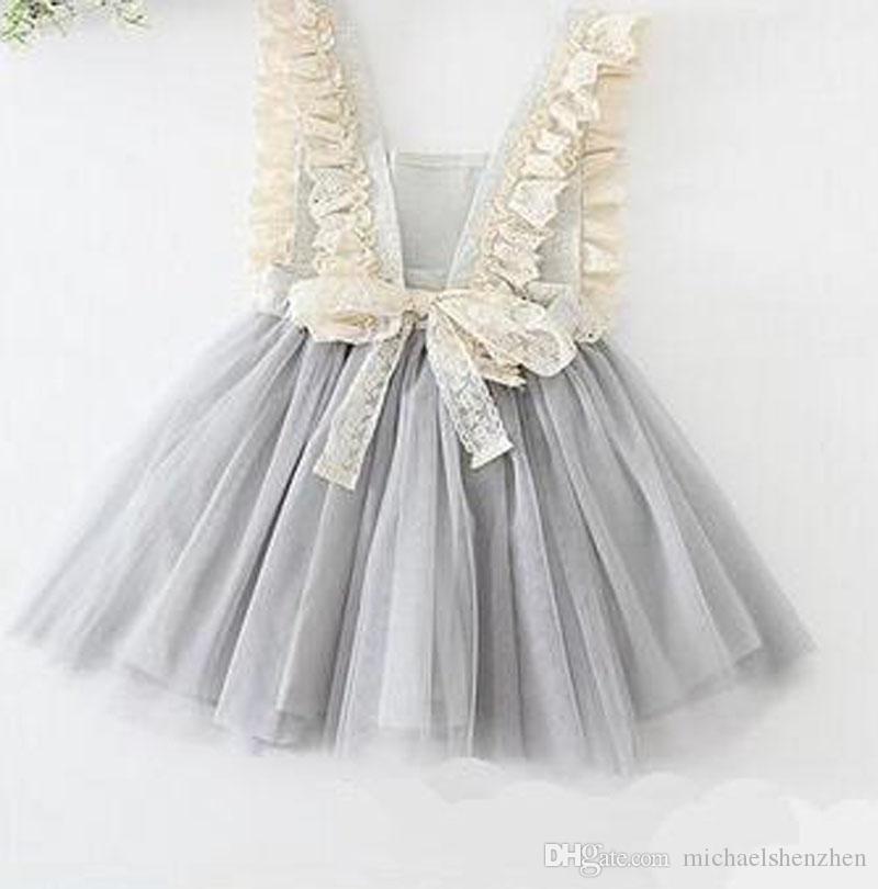 Niños Niñas Tulle Lace Bow Party Dresses es Baby Girl TuTu Princesa Dress Babies Korean Style Suspender Dress niñas vestidos de novia B001
