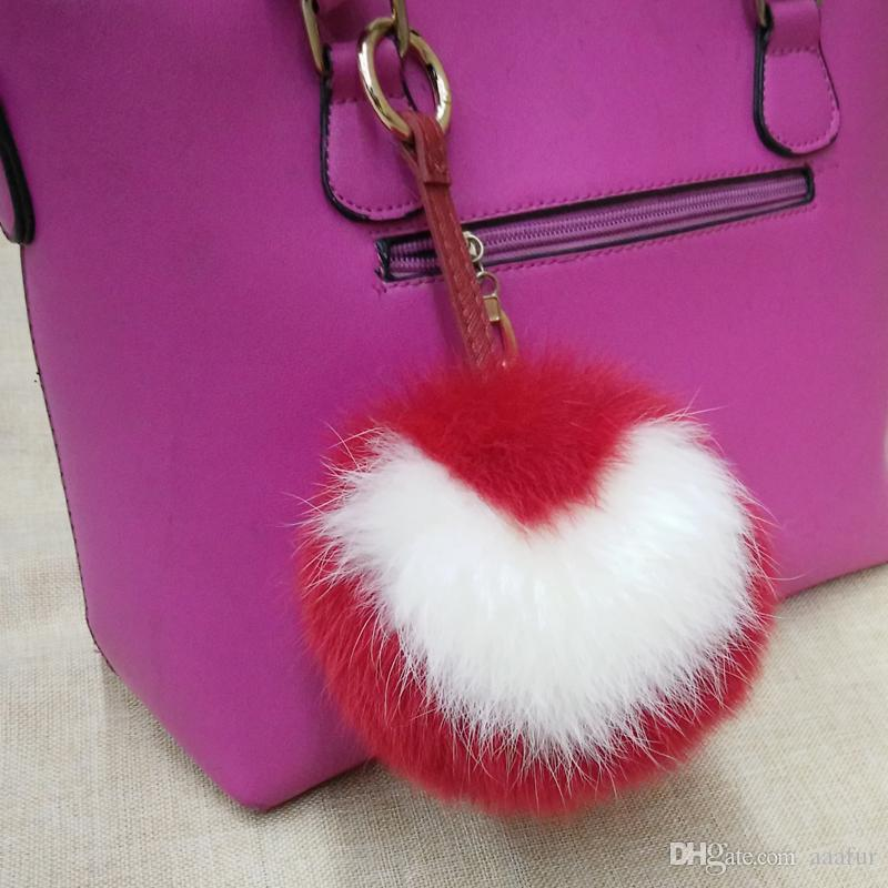 ae5225c9571a 2019 Love Heart Letter Real Natural Fox Fur Keyrings Pom Pom Keychain Fox Fur  Ball Key Chains Bag Charm Bag Handbag Big Size Fur Ball From Aaafur