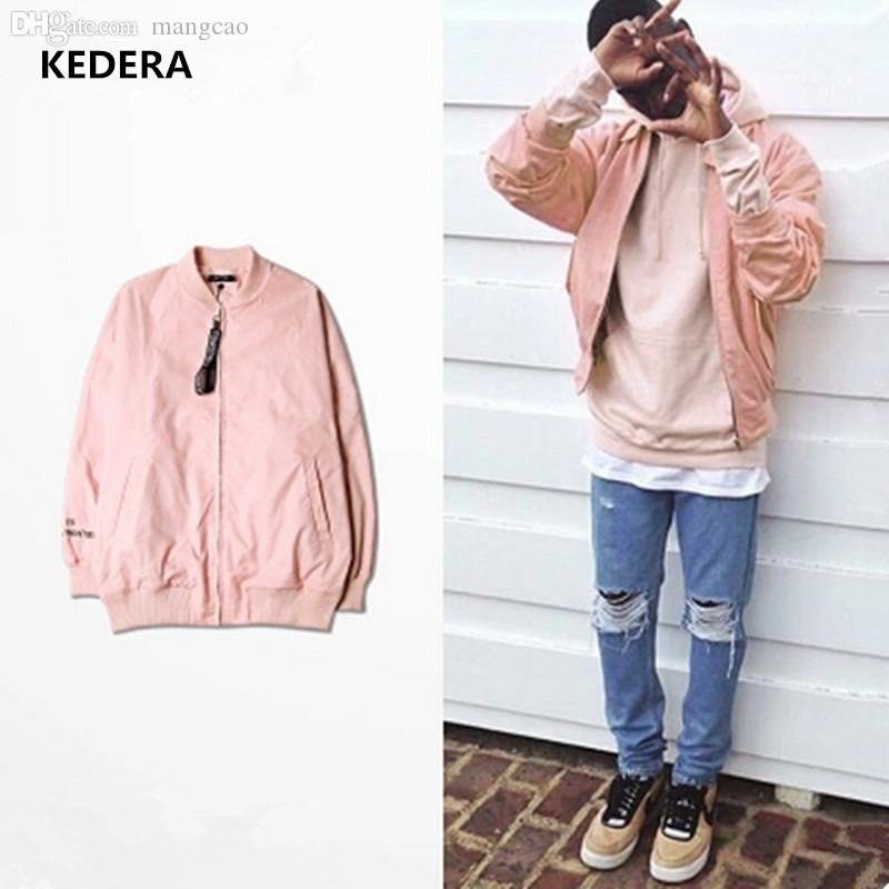 Fall Pink Jacket Men Hip Hop Loose Kanye West Bomber Jacket Pink ...
