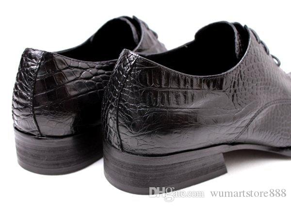 Square dress shoes men's business dress shoes men's Office leather low heel plus size shoes black party hot