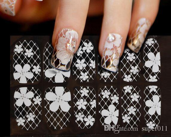 New White Lace Nail Art Sticker Decal Manicure Tip Nails Designs