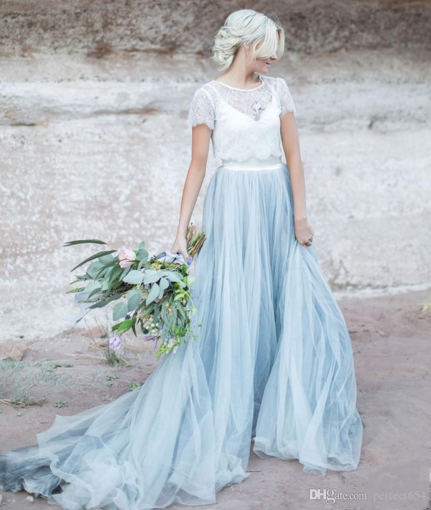 Discount Light Blue Wedding Gown White Lace Sheer Detachable Jacket Crop Top Short Sleeves Tulle A Line Two Toned Bridal Dress Colored Bride Gowns Debenhams