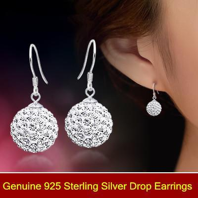 Dangling Earrings Luxury full crystal long ball 925 sterling silver earrings bridal/Wedding dangle brinco prata Christmas Jewlery gift 0083