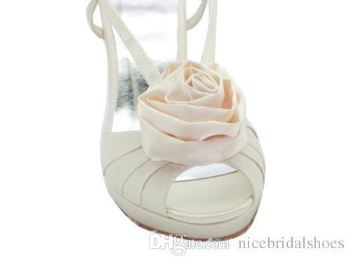 2017 Nice Rose Flower Sandal wedding shoes crystals rhinestones Bow bridal wedding Peep toe shoes Diamond Shoes Party Prom High Heels shoes