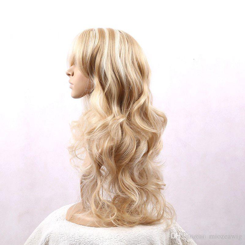 Hair Women Wigs Brown Golden Mix Heat Resistant Synthetic Hair Long Wavy wigs 24inch