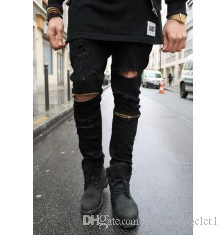 Ripped jeans for men skinny Distressed slim famous brand design biker hip hop jeans high street wear jeans knee with zip jeans