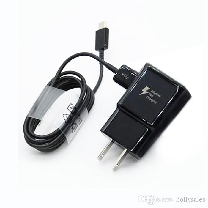 Para s8 9V 5v pared USB cargador de pared enchufe adaptador de viaje 2A 2A casa rápido cargador lleno con el tipo s8 c cable negro para el teléfono S10 S10 + LG