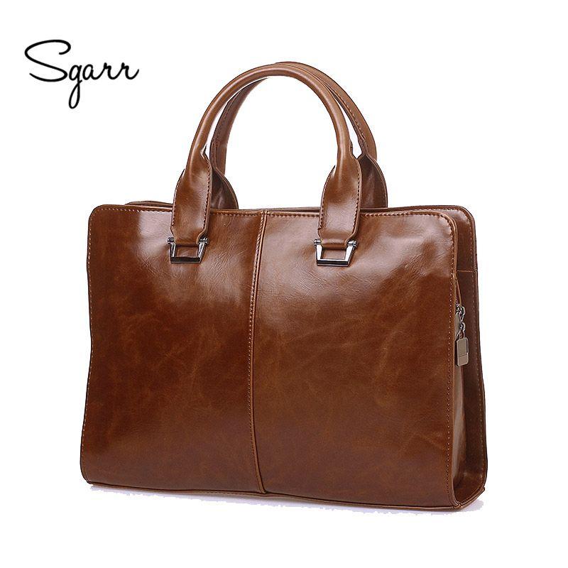 Wholesale Sgarr Brand Mens Pu Leather Briefcases 14   Laptop Vintage Crazy  Horse Pu Leather Business Shoulder Bags Casual Messenger Bag Briefcase Icon  ... 4900ecdc214b