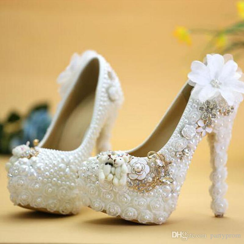 Special Design Wedding Shoes White Pearl High Heel Bride Dress Shoes Lace Flower and Lovely Bear Platform Prom Party Pumps