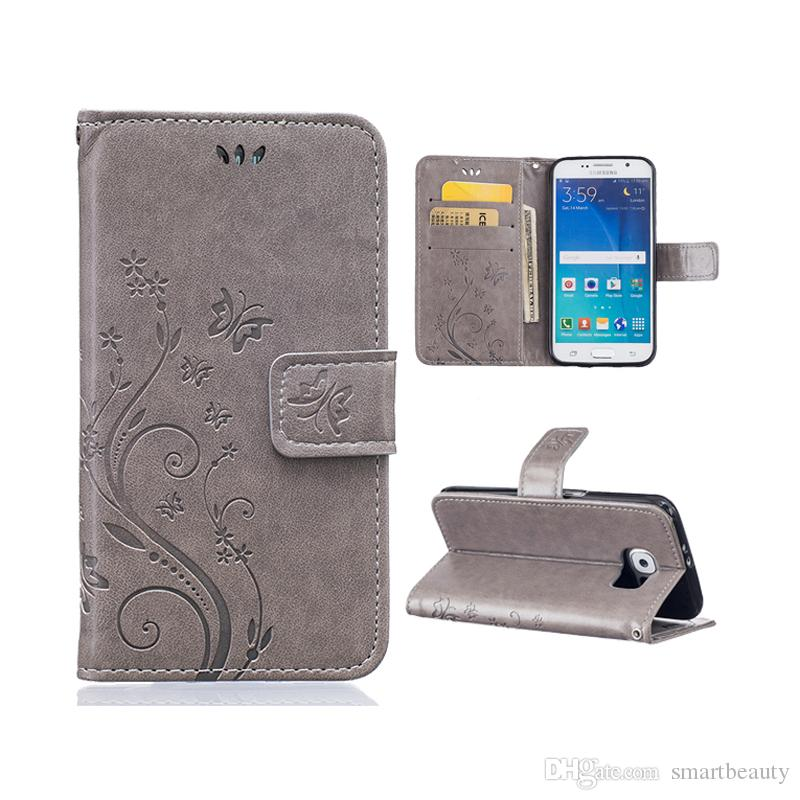 Butterfly Pattern Wallet Leather Phone Case For Samsung Galaxy S6 Edge TPU Back Cover Flip Stand