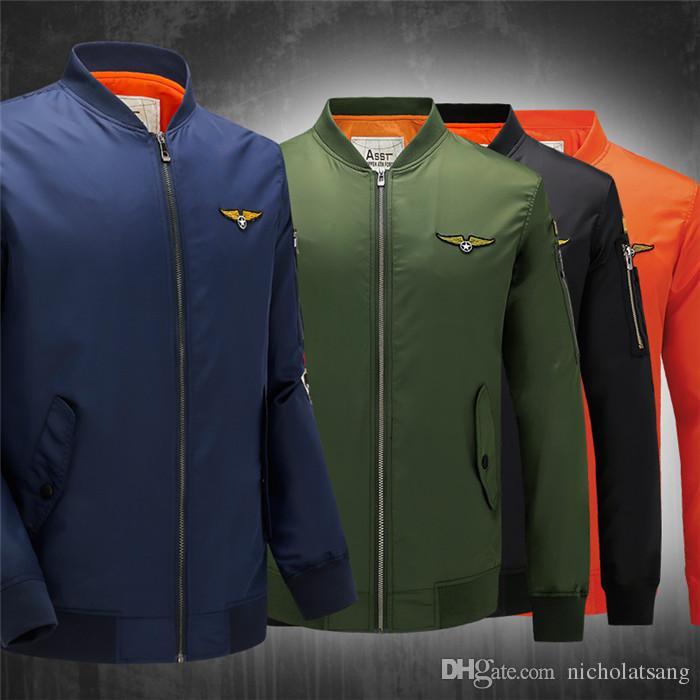 2016 primavera otoño chaqueta de béisbol MA1 estilo delgado ejército verde militar Motocicleta MA-1 Vuelo Chaqueta Piloto Aire Fuerza Hombres Bomber Chaqueta