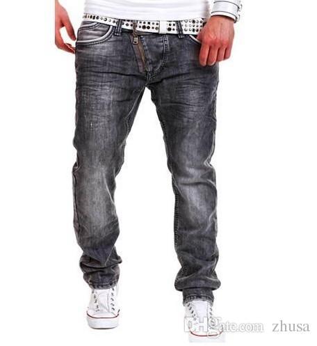d77aa8ae003 Compre Pantalones Vaqueros De Los Hombres 2016 Marca Hombre Jeans Homme Pantalones  Hombre Personalidad Cremallera Decoración Hombres Pantalones Pantalones ...