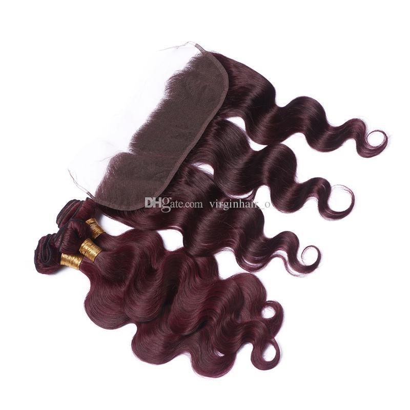 Burgund Brasilianisches Haar Mit 13 * 4 '' Volle Spitze Frontal 4 Stücke Los 99J Weinrot Körperwelle Reine Menschenhaar Bundles Mit Spitze Frontal verschluss