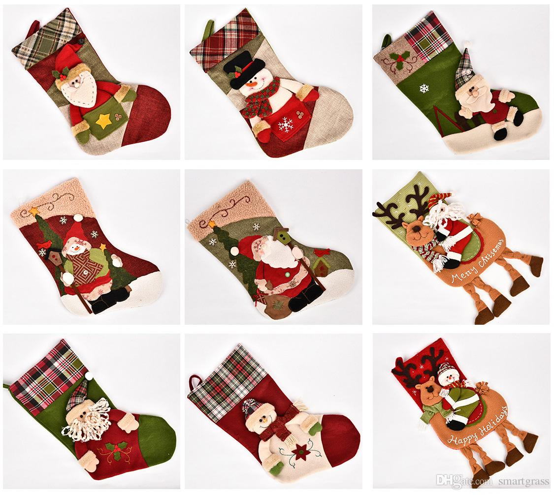 28 Patterns Cute Xmas Stockings Christmas Party Decorations Big Size ...