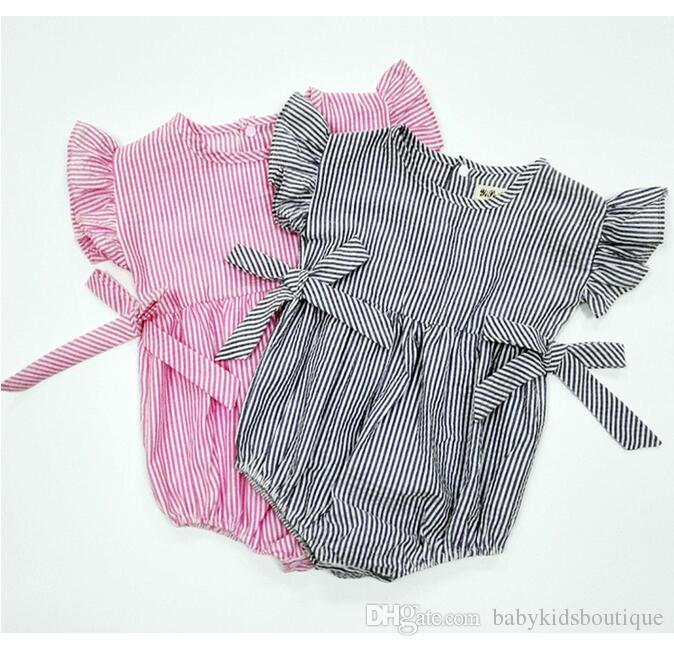Combinaisons roses Barboteuses en coton Tissu Triangle Bébé Vêtements d'escalade Pièce de barboteuse Ruban à rayures Noeud papillon pantalons d'escalade BH2072