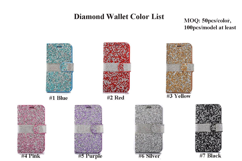 Hybrid Portafoglio in pelle di Bling strass Diamante PU Case Cover carta di credito slot LG G5 V10 Stylus 2 LS775 G Stylo LS770 LS996