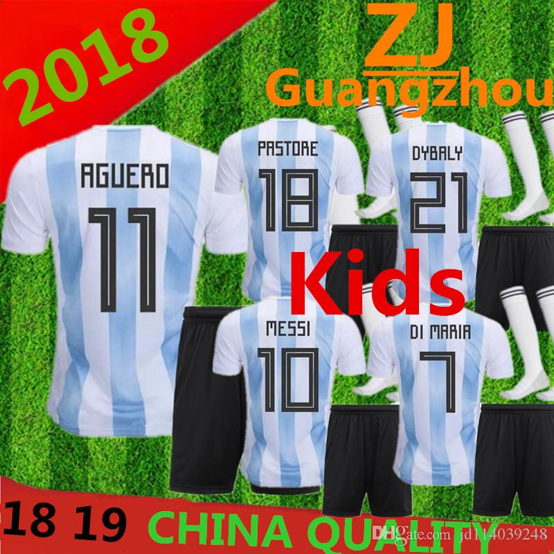 Compre Argentina 2018 Niños Jersey De Fútbol 18 19 Argentina Kits Jersey  Inicio Dybala Camiseta De Fútbol Messi Aguero Di Maria Uniforme De Fútbol  Infantil ... 4047c1d4f3842