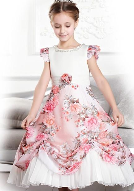 Kid Formal Wear Party Palace Dress Flower Girls Dresses Round Neck