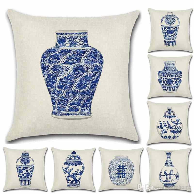 Style chinois bleu bouteille bleu et blanc vase taie d'oreiller en lin taie d'oreiller canapé housse de coussin 45 * 45 cm maison café bureau cadeau cadeau pour un ami