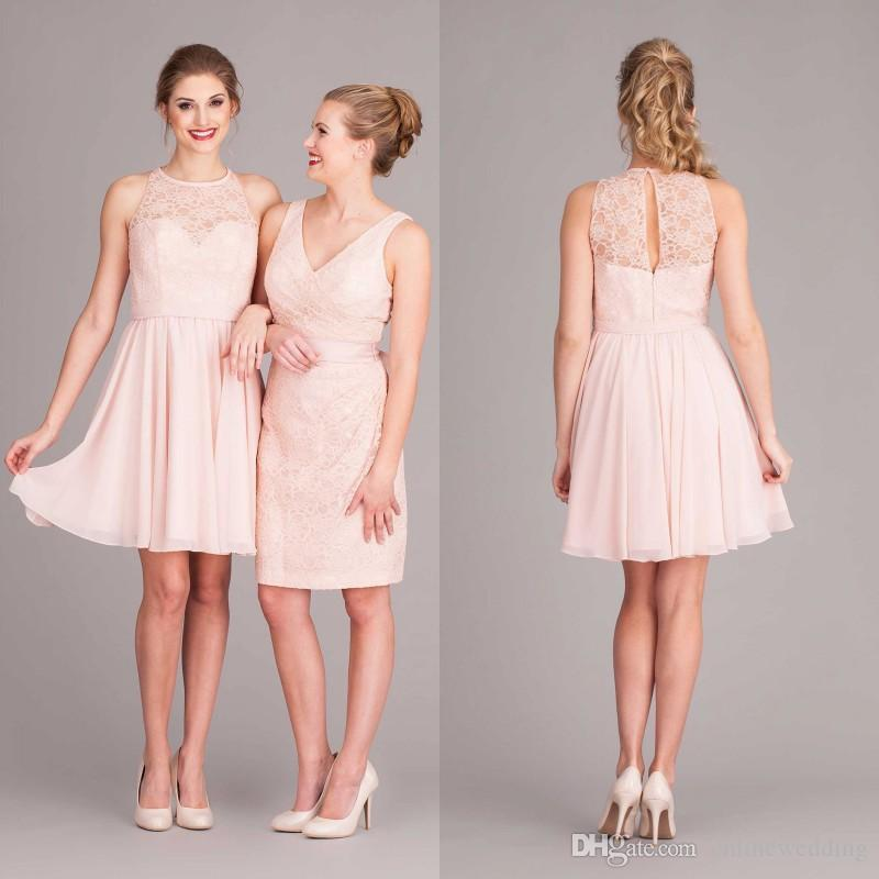 Blush short beach bridesmaid dresses 2017 summer lace and for Pink wedding dress short