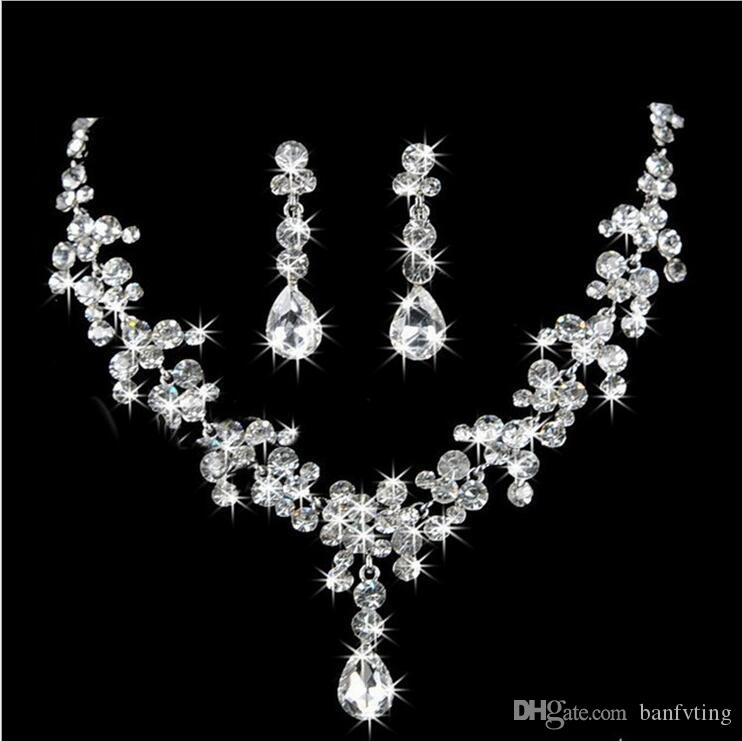 2017 New Style Sparkling Silver Bridal Rhinestone Crystal Drop