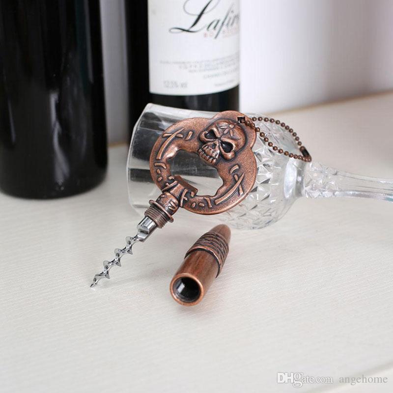 Creative Vintage Bottiglie di birra Apriscatole Utensili da cucina Birra Skull Wine bottle opener Catena chiave del cranio