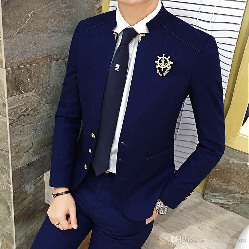 Compre 2017 Nova Moda Coreano Homens Ternos Slim Fit Bridegroon Vestido  Ternos De Casamento Gola Única Breasted Blazer Casaco Outwear Casacos 3  Cores De ... c235c8683fa