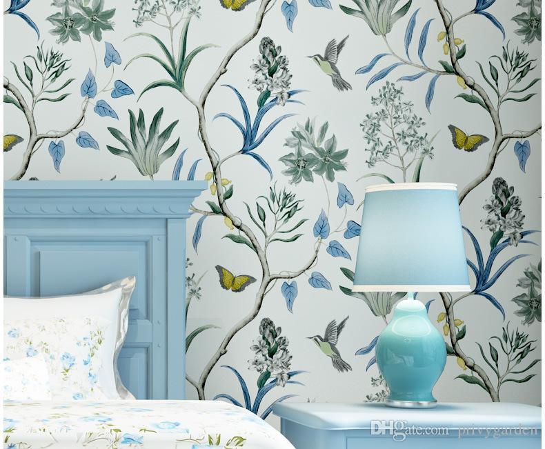 Amerikanischer Art-Schlafzimmer-Wand, die moderne Weinlese-Rosa-Blumentapeten-blaue tropische Schmetterlings-Vogel-Blumen-Tapeten bedeckt