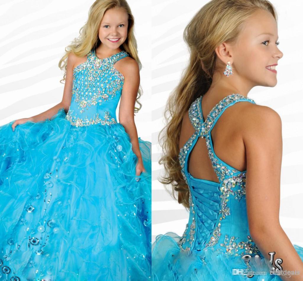 Vestidos De Concurso Da Menina do Glitz Halter Cristais Lantejoulas Plissadas Organza Meninas vestido de Baile Princesa Vestidos de Festa de Casamento RG6684 meninas ritzee