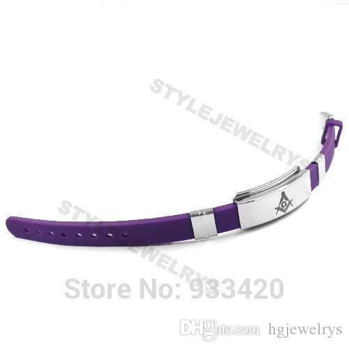 ! Classic Masonic Bracelet Stainless Steel Jewelry Purple Blue Rubber Motor Bracelet Men Wholesale SJB0213B