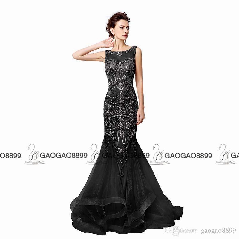 Aperto Indietro Grigio Champagne Mermaid Abiti da sera Bordare 2019 Real Photo scintillante Sheer Neck Prom Abiti da donna Lungo robe de soiree LX006