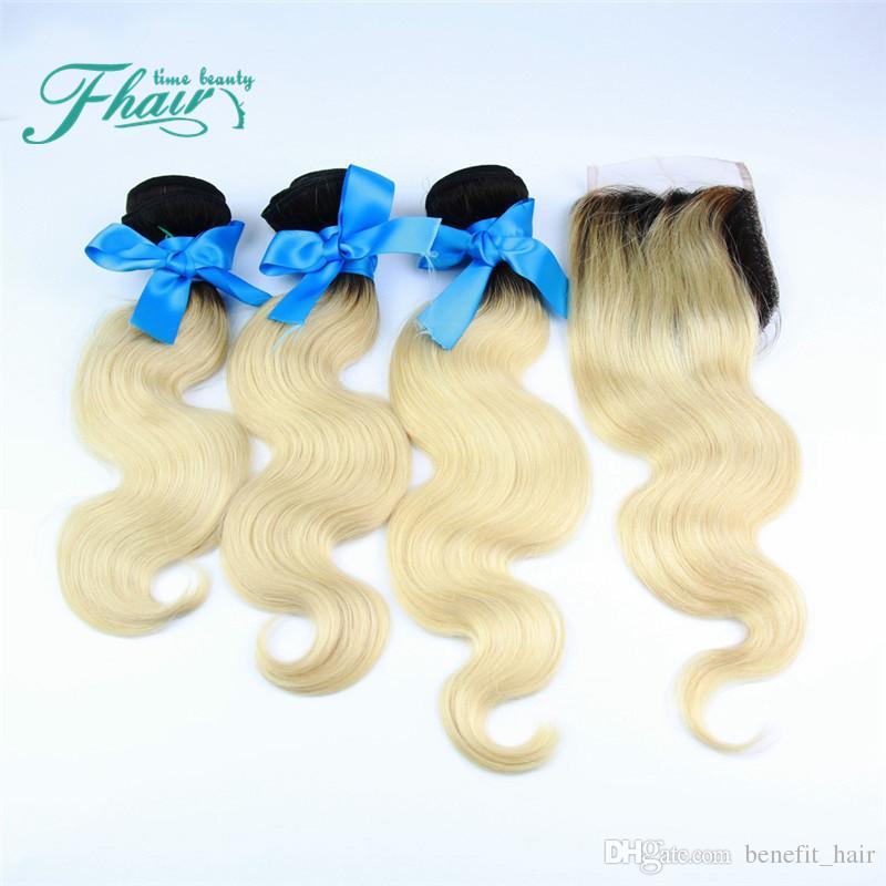 Перуанский объемная волна ломбер волос с закрытием 9А класс #1B/613 блондинка кружева закрытие с ткет два тона 3Bundles с закрытием 4 шт. Много