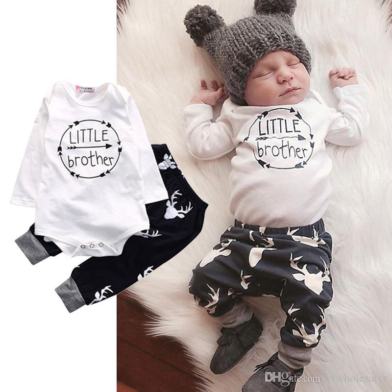 Christmas Pajamas Baby Clothing Infant Reindeer Romper Suit 2pcs Toddler Outfit David's Deer Boutique Clothes Onesies+Legging Pants