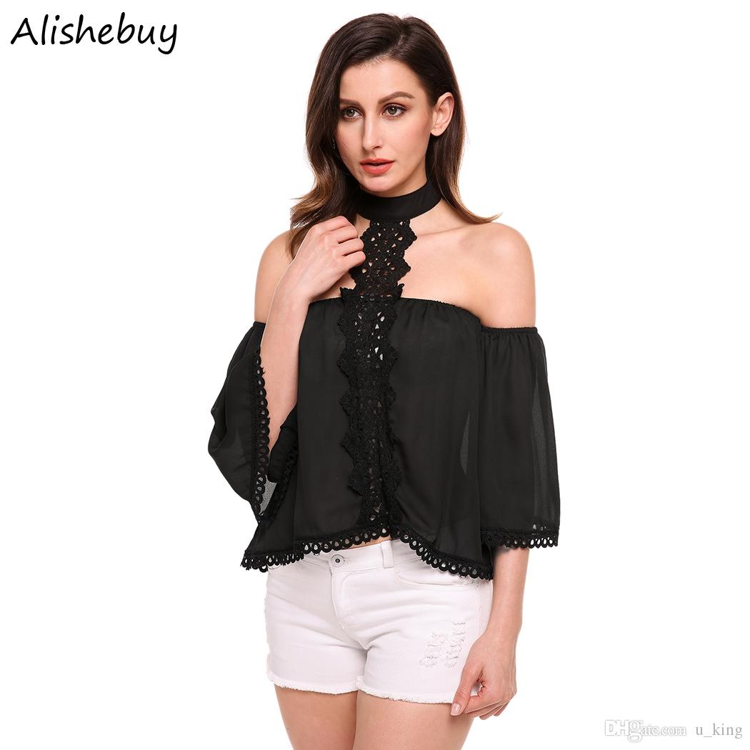 d02b5b830da 2019 Women Crop Tops Hollow Lace Blouse Casual Backless Off Shoulder Lace  Patchwork Loose Party Beach Halter Chiffon Blouse White Black SVH033119  From ...