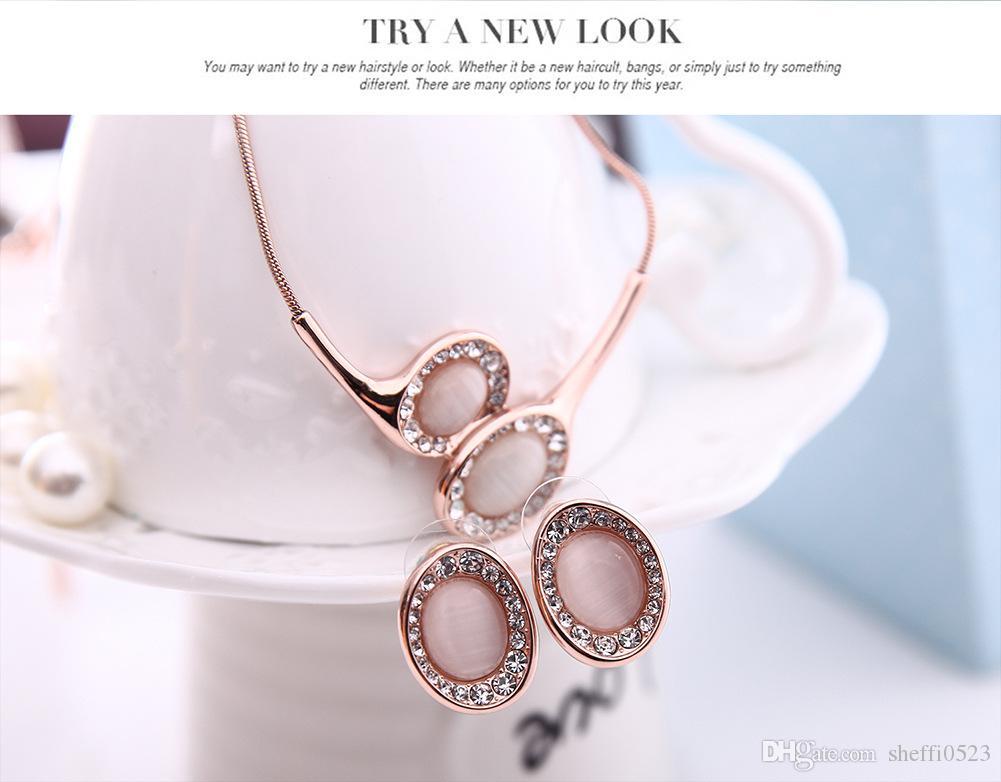 La nuova moda collana orecchini set di gioielli di alta qualità di tendenza in lega di gioielli le donne gioielli da sposa 61152232