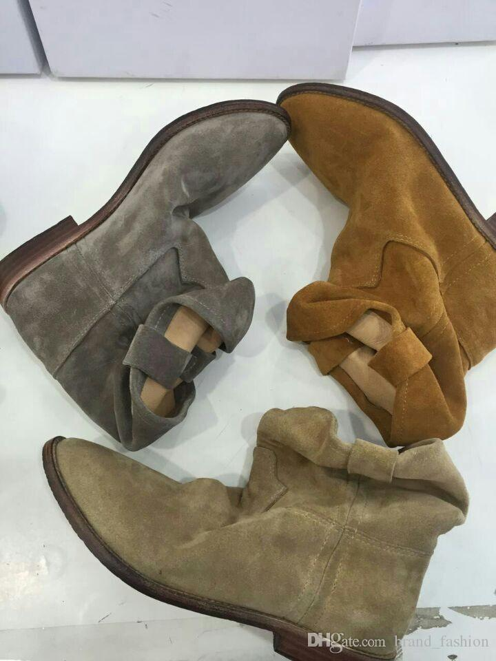 Estilo britânico EU35-42 Mulheres Ankle Boots Planas Martin Camurça Nubuck Real Botas Curtas De Couro Marca Designer Bottom Femme 2016