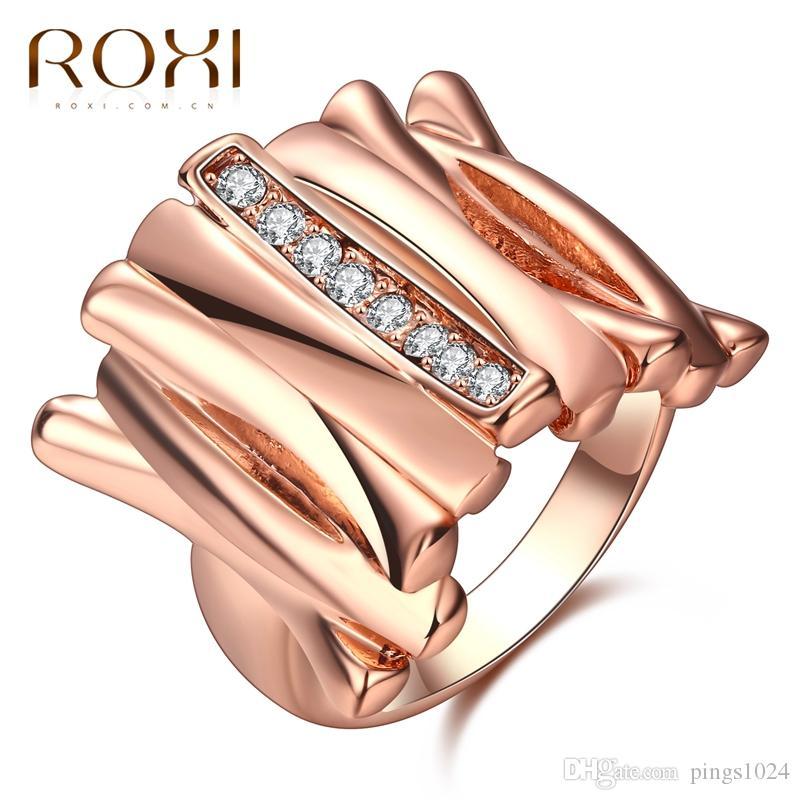 c894a76d7ef7 Compre Roxi Moda Mujer Señora Anillos Irregular Joyería De Cristal Cuadrado  De Lujo Blanco   Rosa Color Oro Partido Boda Anillo De Dedo Para Las Mujeres  A ...