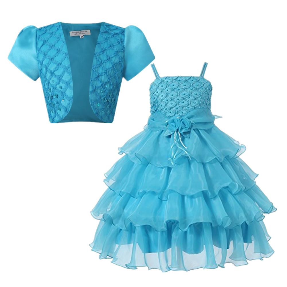New Fashion Girls Party Dress with Baby Kids Sleeveless Layered Lace Ball Gown Children Wedding Bridesmaid Formal Dresses