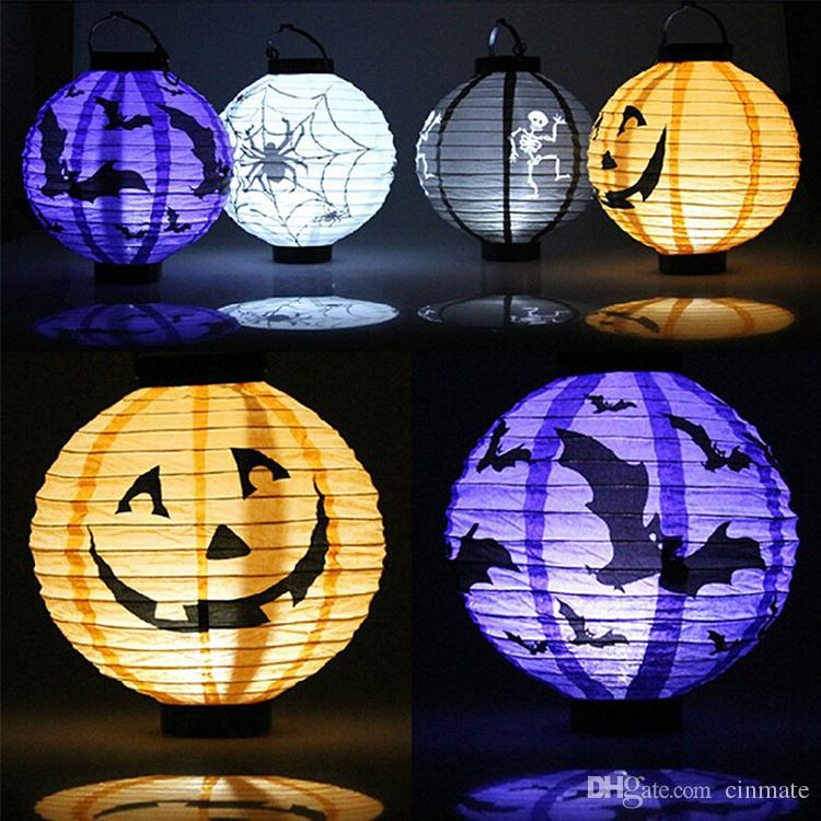 2017 halloween decorations paper lanterns with led light pumpkin spiders bats skull pattern decoration supplies holiday party decor from cinmate