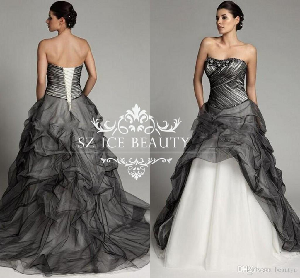 Discount Black And White A Line Gothic Wedding Dresses Ruched Tulle