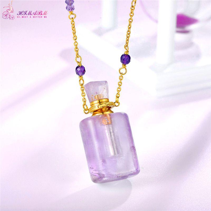 HIMABM Natural Amethyst Rectangular Perfume Bottle Scent-bottle Essential Oil Bottle Can volumetric flask Birthday